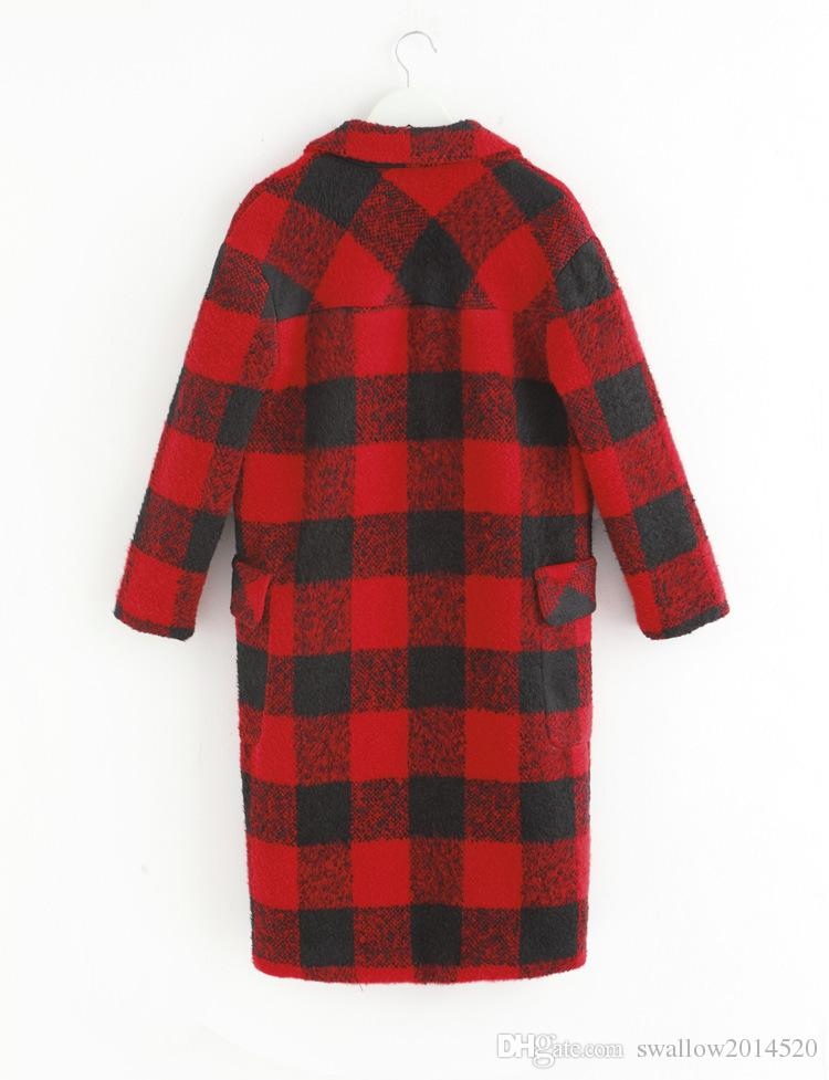 Herbst-Winter-Frauen-roter Plaid-Wolljacken-gepaßter Trenchcoat-Karo-lose koreanische Art woolen lange Hülsen-Dame Revers-dünne lange Jacken-Oberbekleidung