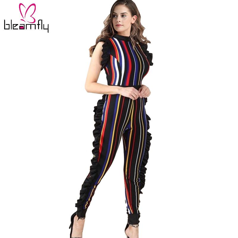 9b7c9c59bf1 2019 Sexy Stripe Printed Colorful Rompers Womens Bodycon Jumpsuit 2018 Lady  Summer Beach Ruffles Bodysuit Club Wear Female Playsuit From Vanilla06
