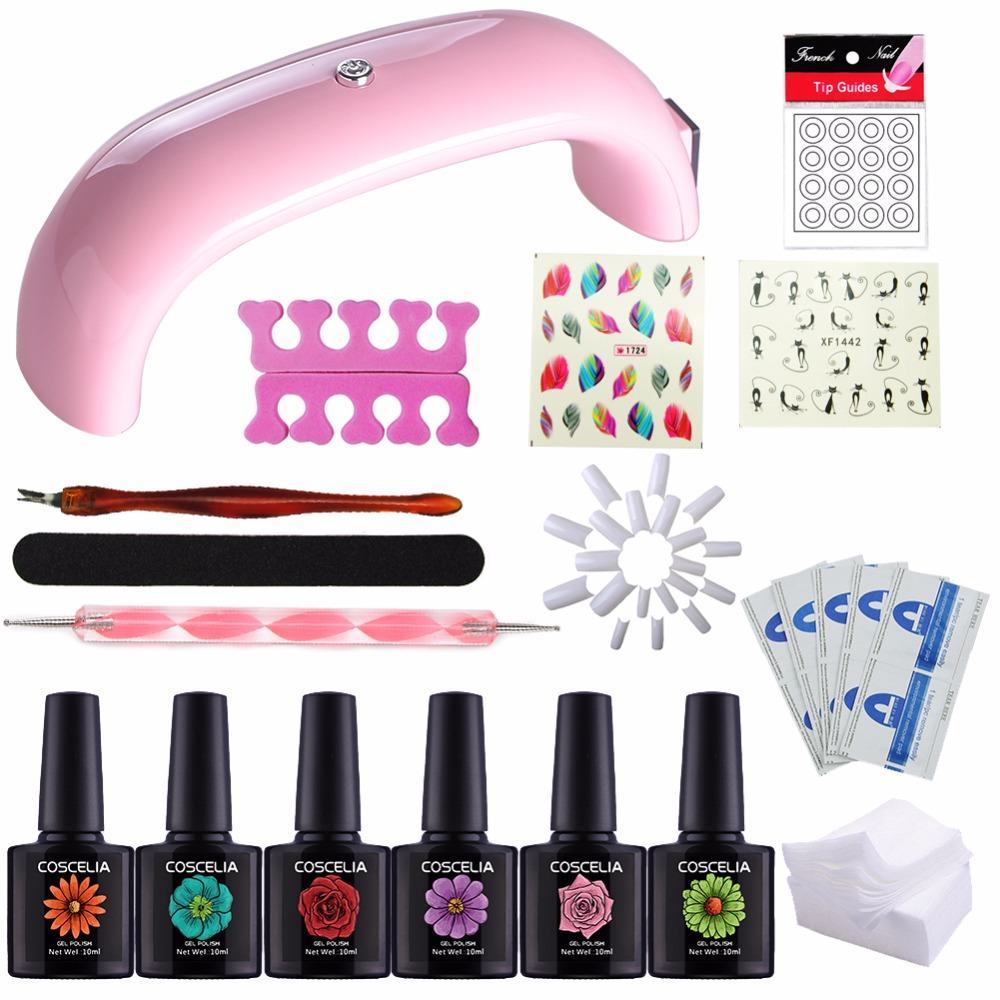 UV Gel Nail Kit Pink LED Lamp Soak Off Gel Nail Polish Kit Manicure ...