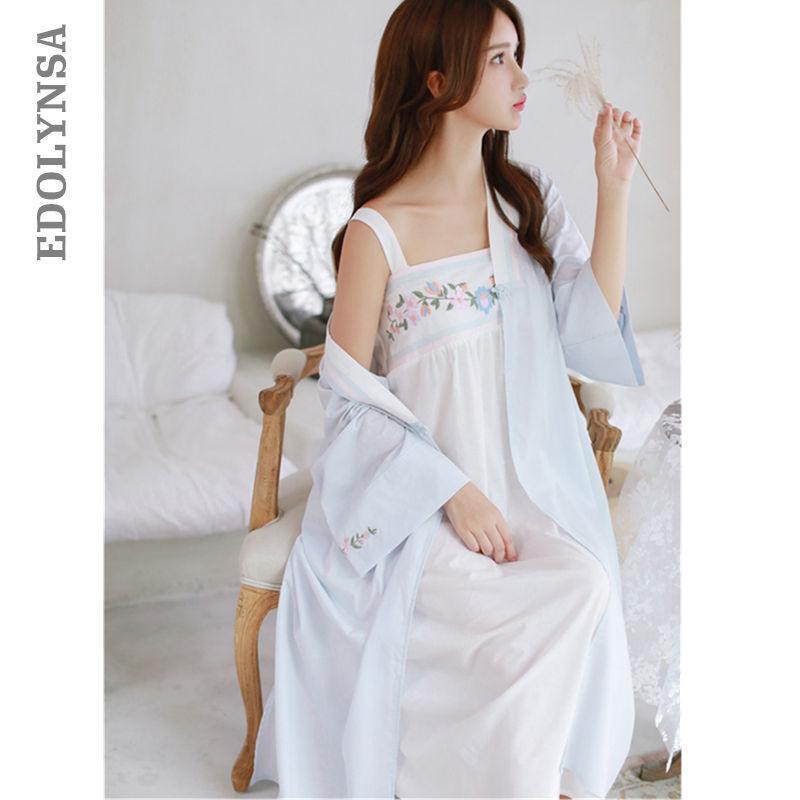 Unterwäsche & Schlafanzug Spitze Robe Lange Robe Dame Weiß Spitze Stickerei Robe Und Slip Zwei Stücke Für Frauen Robe Nachtwäsche Braut