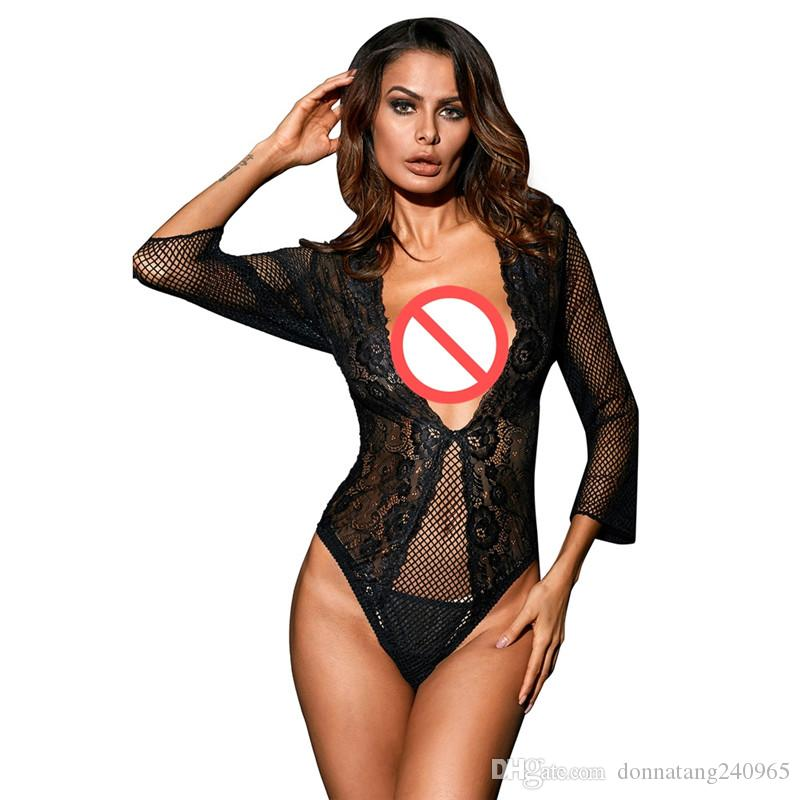 2e94ff67ff1 2019 Sexy Black Red Lace Bodysuit Women Ravishing Fishnet Teddies Lingerie  Skinny Body Jumpsuit Femme Romper Shorts Playsuits From Donnatang240965