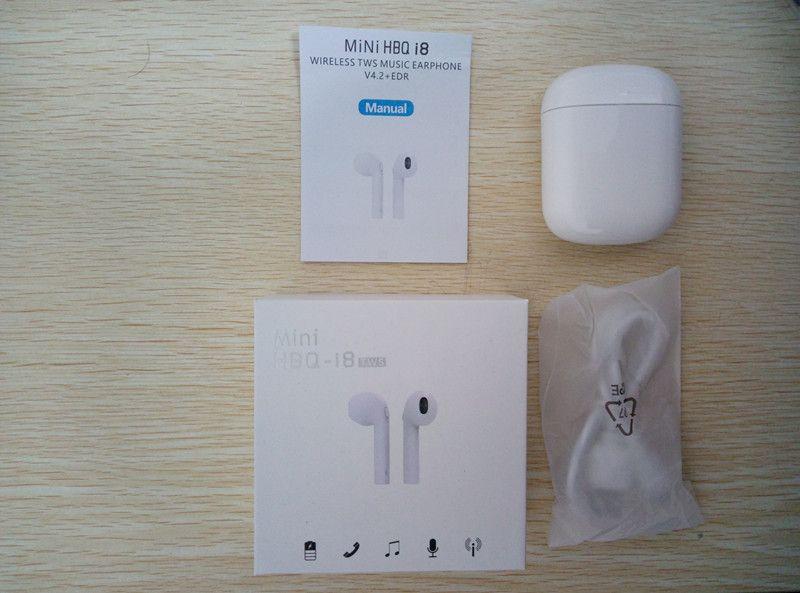 HBQ 미니 I8 블루투스 헤드폰 더블 이어 에어 무선 포드 헤드셋 진정한 무선 스포츠 이어폰 TWS Binaural 이어폰, 아이폰 X 8