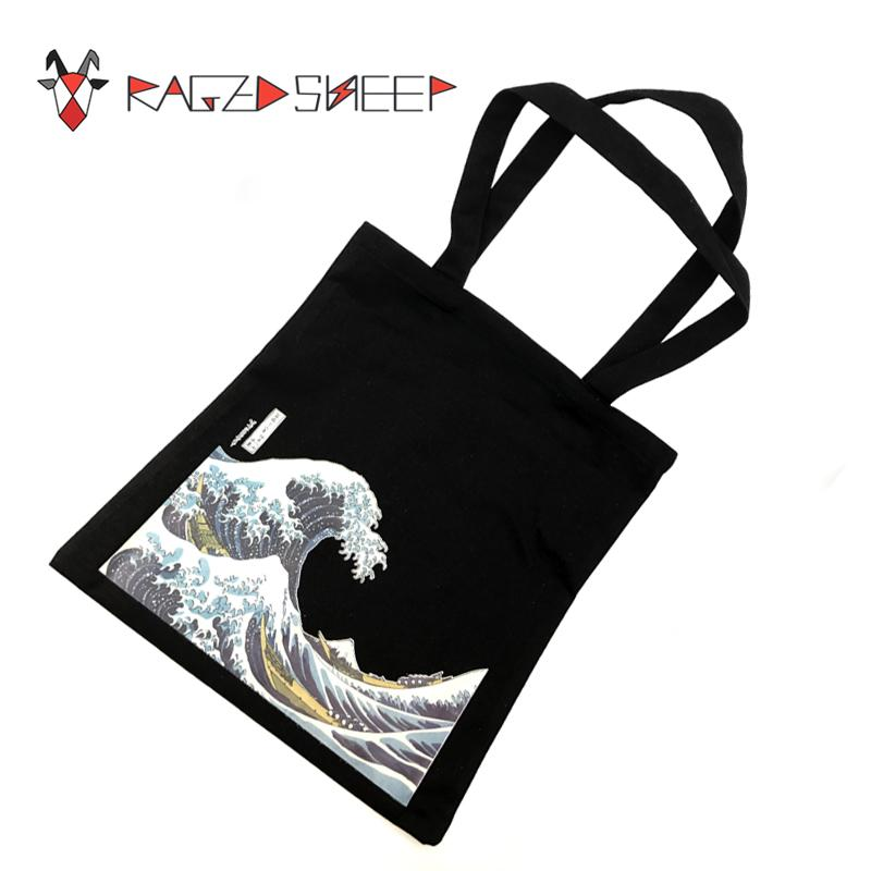 Raged Sheep Fashion Cotton Grocery Tote Shopping Bags Folding Shopping Cart Eco Grab Reusable Bag With Sea Wave Print