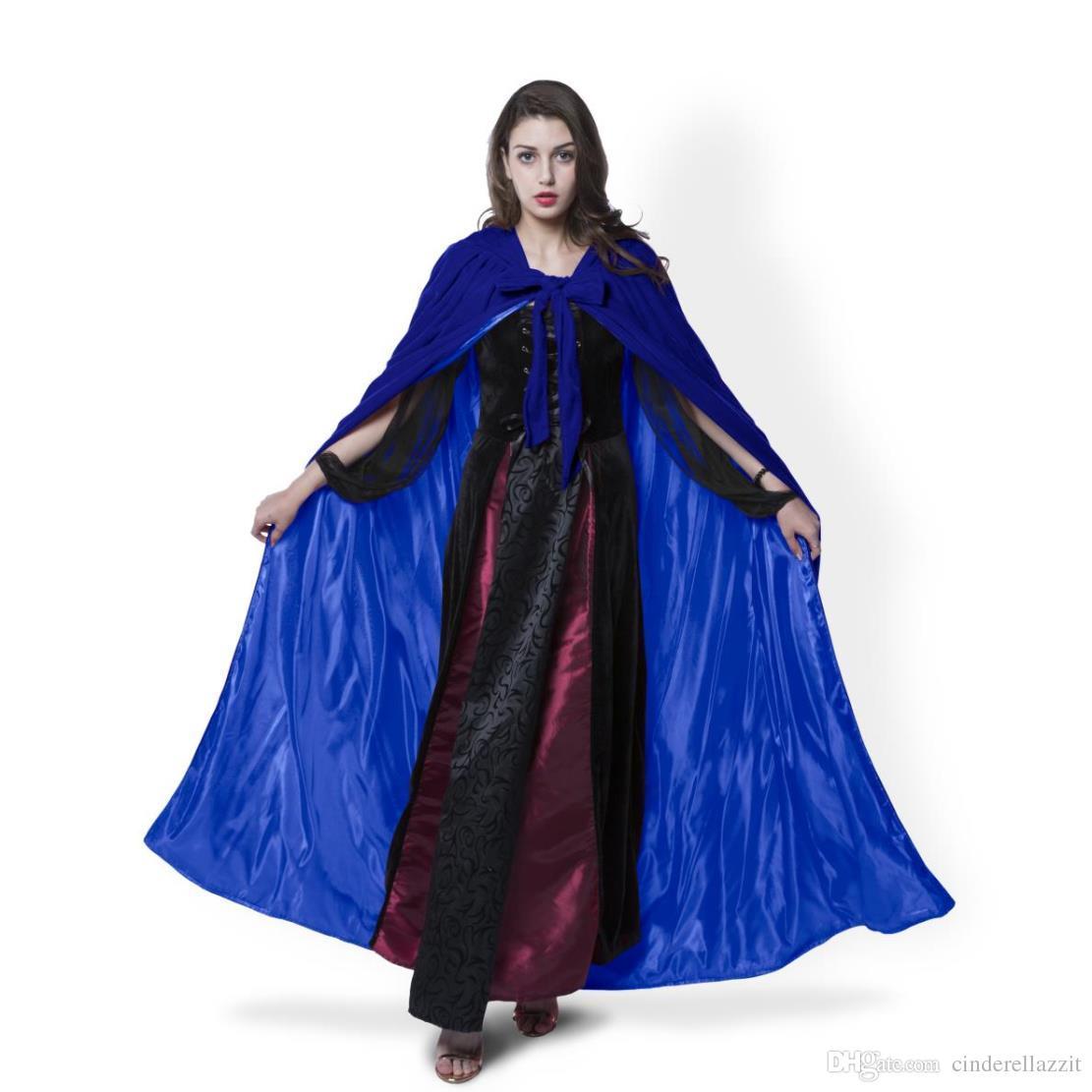Acquista Fodera Blu E i Mantello Di Velluto Vampiro Gotico Wicca Robe Caldo  Outdoor Mantella Mantella Medievale Mantovana Da Donna Mantello Da Sposa  Wraps ... 3b38c7b51595