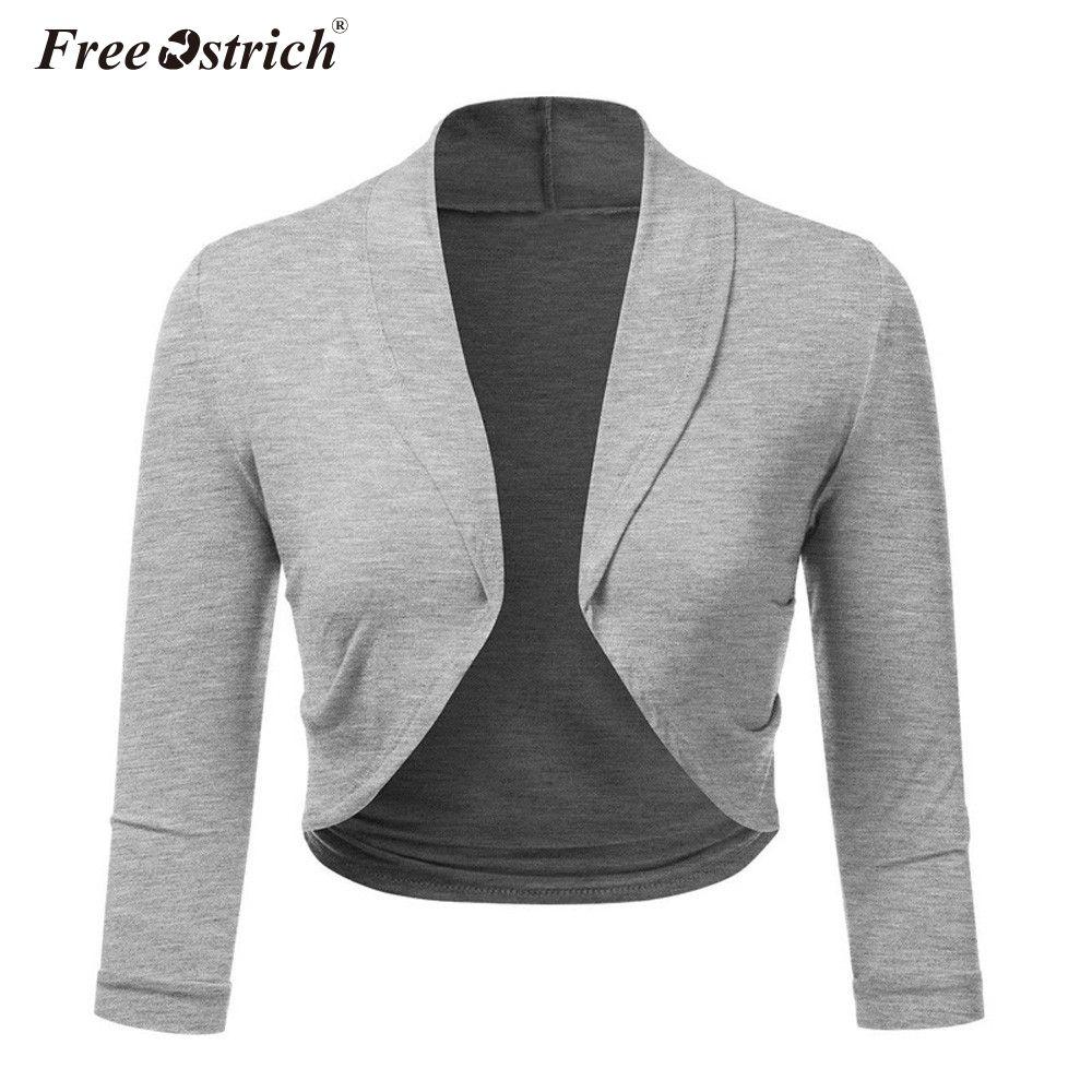 440d93f3930 Free Ostrich Plus Size 5XL Women Cropped Jacket Short Bolero Shrug Solid  Open Stitch Ladies Slim Coats Outerwear Green Bomber Jacket Womens Leather  Jacket ...