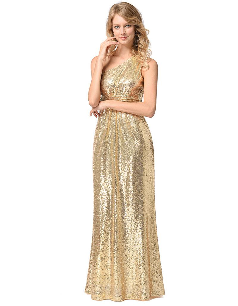 Women's Sexy Sequinned One Shoulder Sleeveless Clubwear Cocktail Bridemaid party Maxi Dress Size S M L XL XXL RYg1223