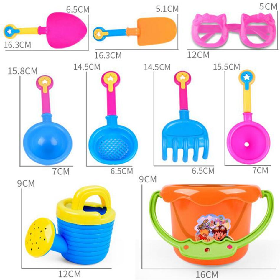 Baby Playing With Sand Water Beach Bucket Sunglass Toys Set Dredging Tool For Children Baby Kids Sandy Beach Toy OOA4961
