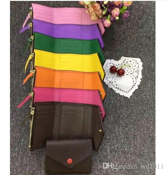top quality women man with box real leather multicolor short wallet Card holder classic zipper pocket Victorine