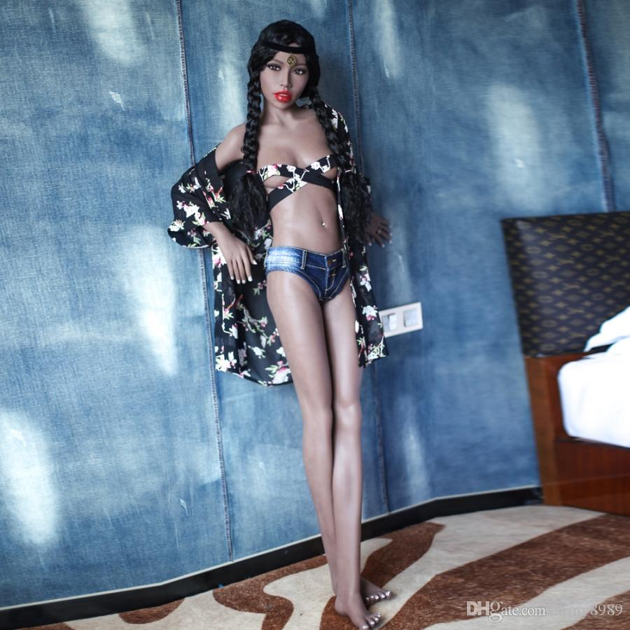 New 168cm silicone sex doll for men adult real full body small breast America head tan with skeleton sexy love vagina pussy TPE