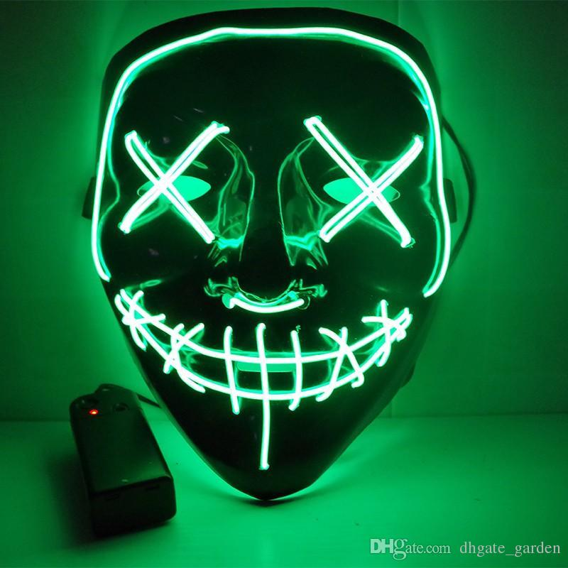 Scary Halloween Mask EL wire LED Light Up Luminous Grimace Bloody Funny Party Masks Festival Cosplay Costume Supplies Glow In Dark Mask