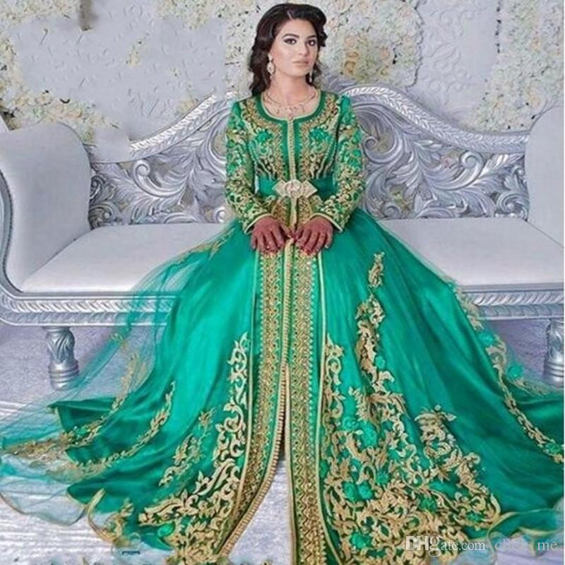 6106af5f19a2d Green Saudi Arabia Long Sleeves Evening Dresses With Gold Appliques Lace  Sash 2018 Prom Dresses Long Jewel Dubai Muslim Party Gowns Evening Dresses  Designer ...