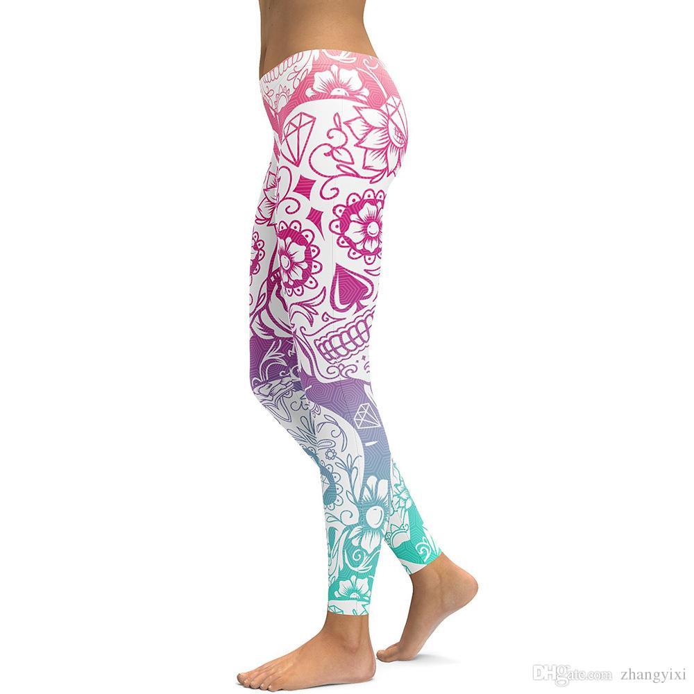 Wholesale Classic 3D Digital Print Skull Flower Leggings Women Causal Sexy Tight Pants Plus Size 4XL