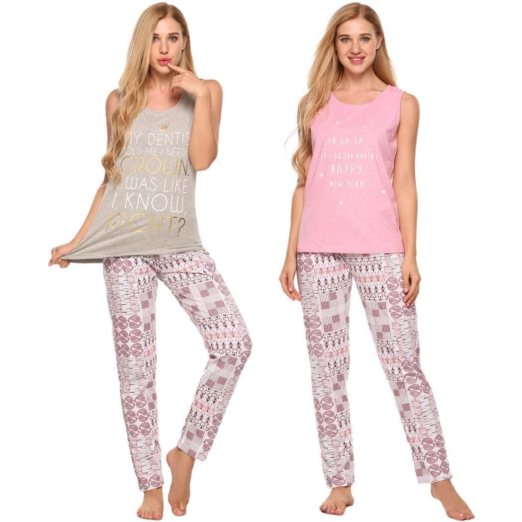 0d429e5eec5c38 2019 Ekouaer Pajamas Women Set Sleeveless Tank Top And Long Pants Lounge  Sleepwear From Kingflower