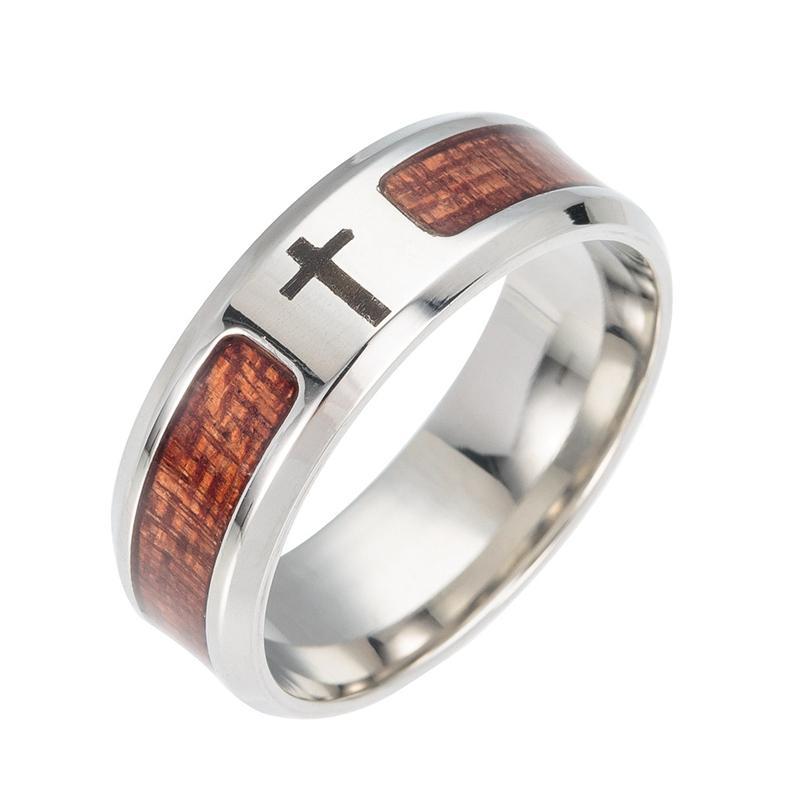 Wood Wedding Band | Teak Wood Ring With Cross Charm Design Titanium Steel Wedding Ring