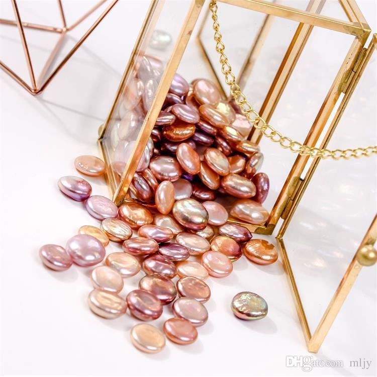 Barocke Perle 13-15mm Münze Perle Persönlichkeit Große flache Taste Perle Strang DIY EarringKette Barock Perlen Hochzeit Schmuck