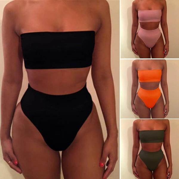 9355c45fec Sexy Strapless Bikini Set Women Push Up High Waist Swimsuit Beach Swimwear  Bathing Suit UK 2019 From Challengerdefier