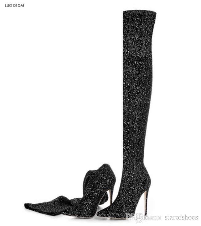 2018 Nuove donne stivali tacchi alti stivali di stoffa elastica stivali alti scintillio donne stivaletti sopra ginocchio alta lucido mujer botas