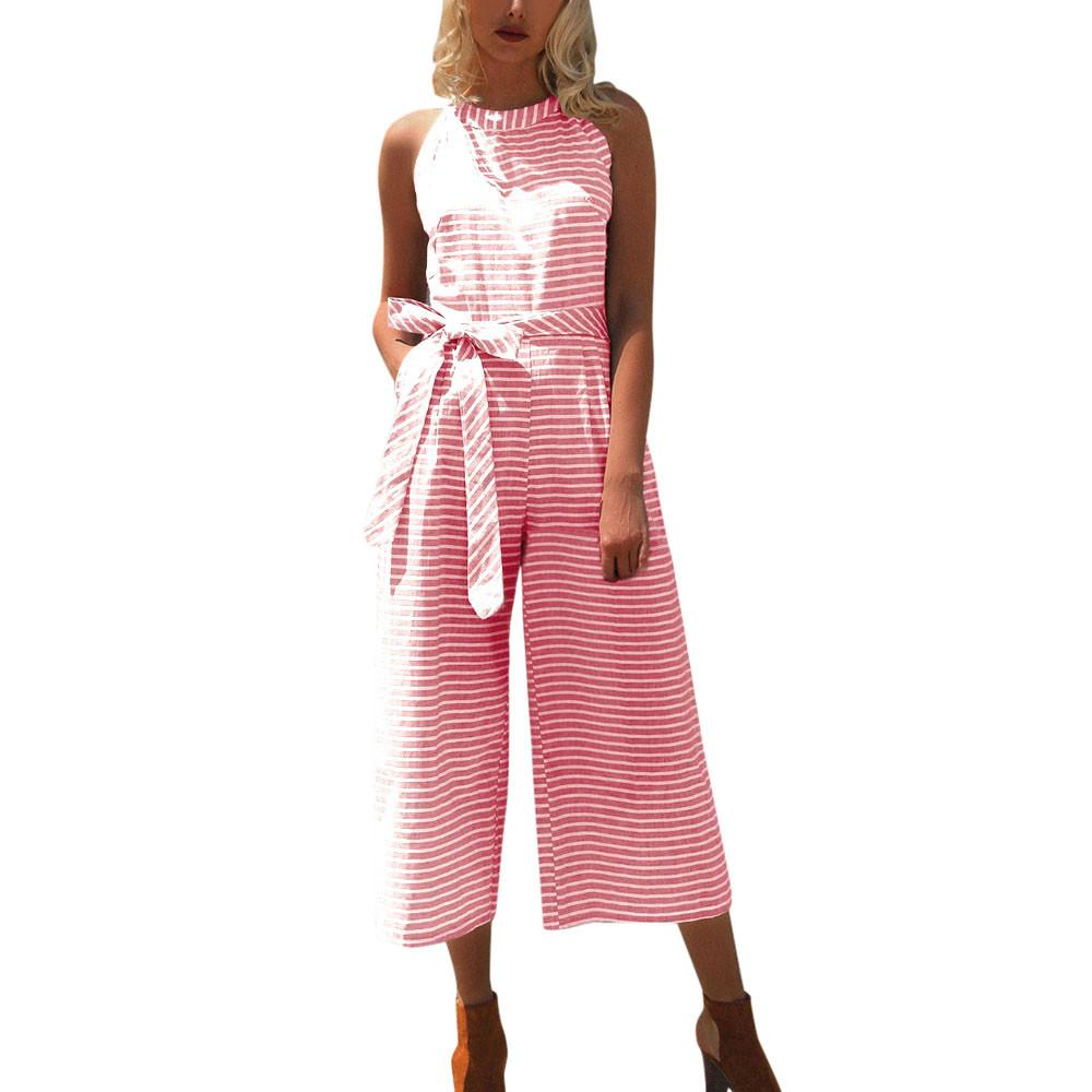 Trustful 2018 Vintage Jumpsuits Hot Fashion Sleeveless O Neck Playsuits Rompers Pants Wide Leg Striped Women Ladies Hollow Casual Set Women's Clothing