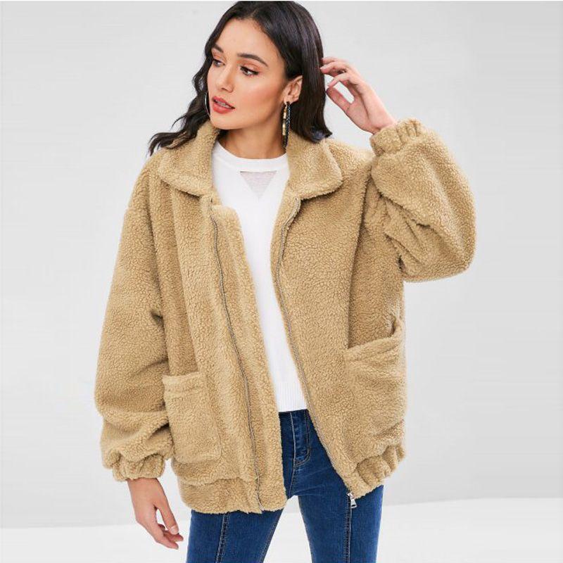 2018 mode Frauen Faux Pelz Mantel Teddy Bär Flauschigen Jacke Fleece Pelz Oberbekleidung Lange Top Weibliche Winter Warme Taste Flauschigen mantel