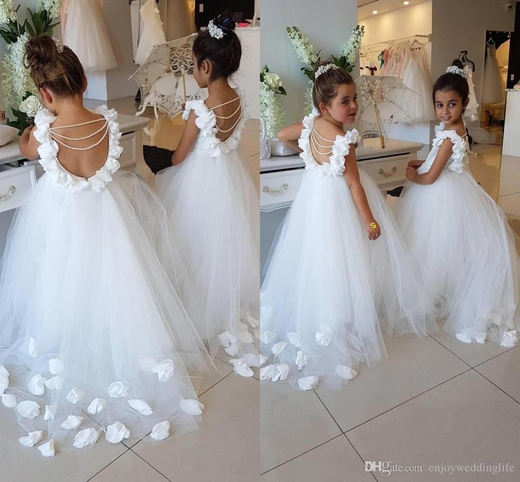 2018 Lovely White Flower Girls Dresses For Weddings Lace Tulle
