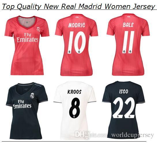 Compre Camisa De Futebol Real Madrid Mulheres 2019 Casa Senhoras Brancas  2018 Feminino Away Black 18 19 Meninas Camiseta Vermelho Futbol Camisa  Mulher ... c3b2d7fc8b3c7