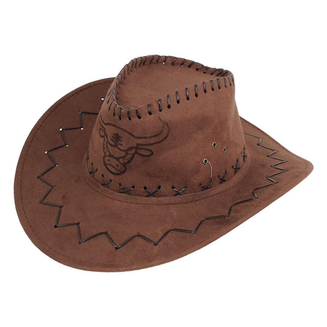 Men Flannel Strap Winding Cow Head Pattern Faux Suede Cowboy Hat Brown  Trilby Hat Top Hats From Vineer a22bae34852