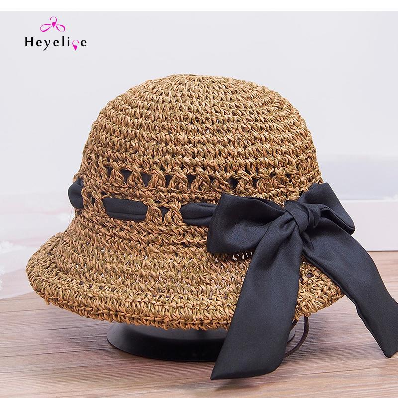 New Straw Sun Hats Women Handwork Summer Women Cap With Big Bowknot  Adjustable Brim Beach Fashion Holiday Lady s Cap Panama Hat Trilby From  Heathere 7208832945