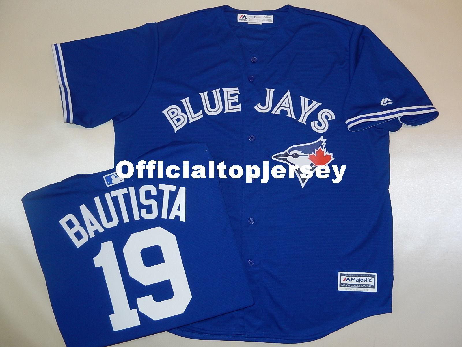 4a65137d5 Cheap Custom MAJESTIC #19 JOSE BAUTISTA Cool Base SEWN Baseball ...