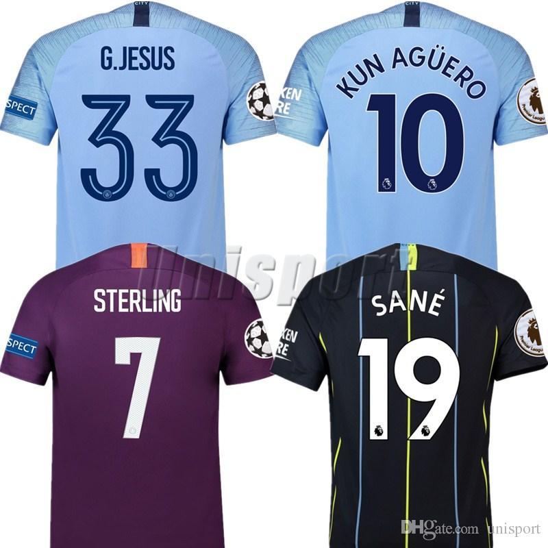 2018 19 Champions League Soccer Jerseys Kun Agüero Sterling De ... 0f1834582d8cb