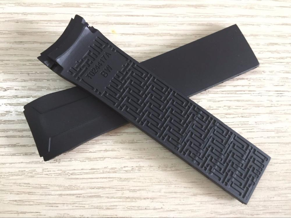 22mm T024417A Assista banda de Borracha De Silicone Preto Strap Watch band para T024 T024417
