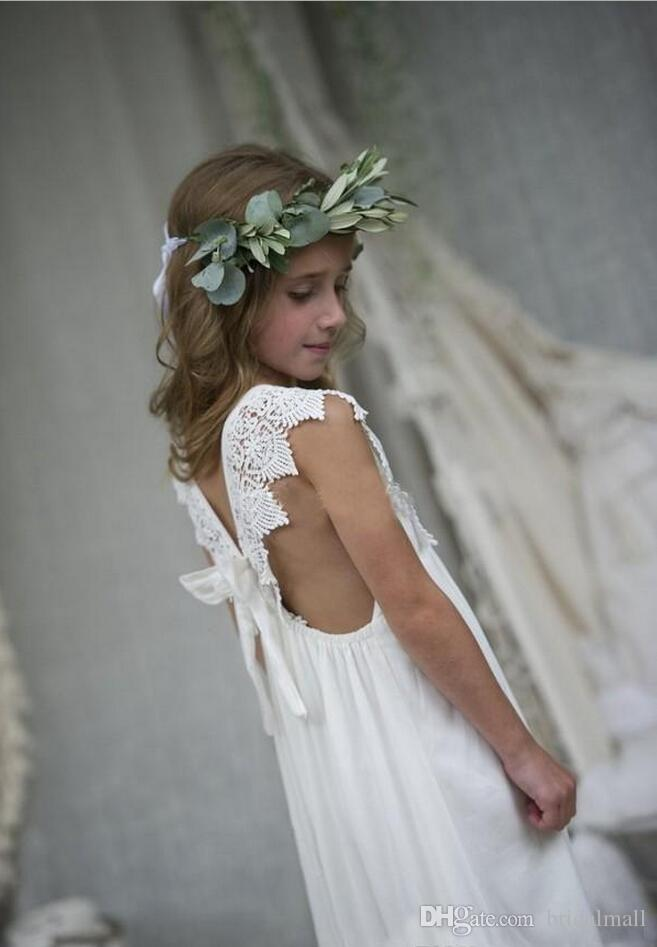 Prinzessin Applizierte Spitze Blumenmädchenkleider Mit Schleife Weiß Chiffon Mädchen Festzug Kleider Kleine Kinder Ballkleider V-ausschnitt Formales Geburtstagskleid