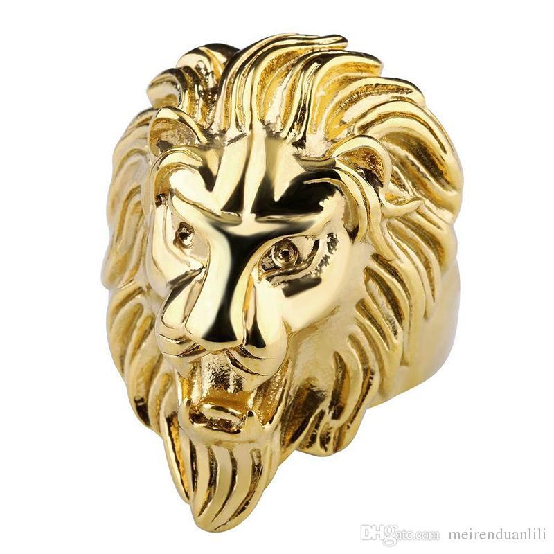 Mode Lion Band Ring Gold Stahl Farbe Herren Ringe 316L Edelstahl Schmuck Für Herren Schmuck Hochzeit Liebe Ring Anillos für Coole Männer