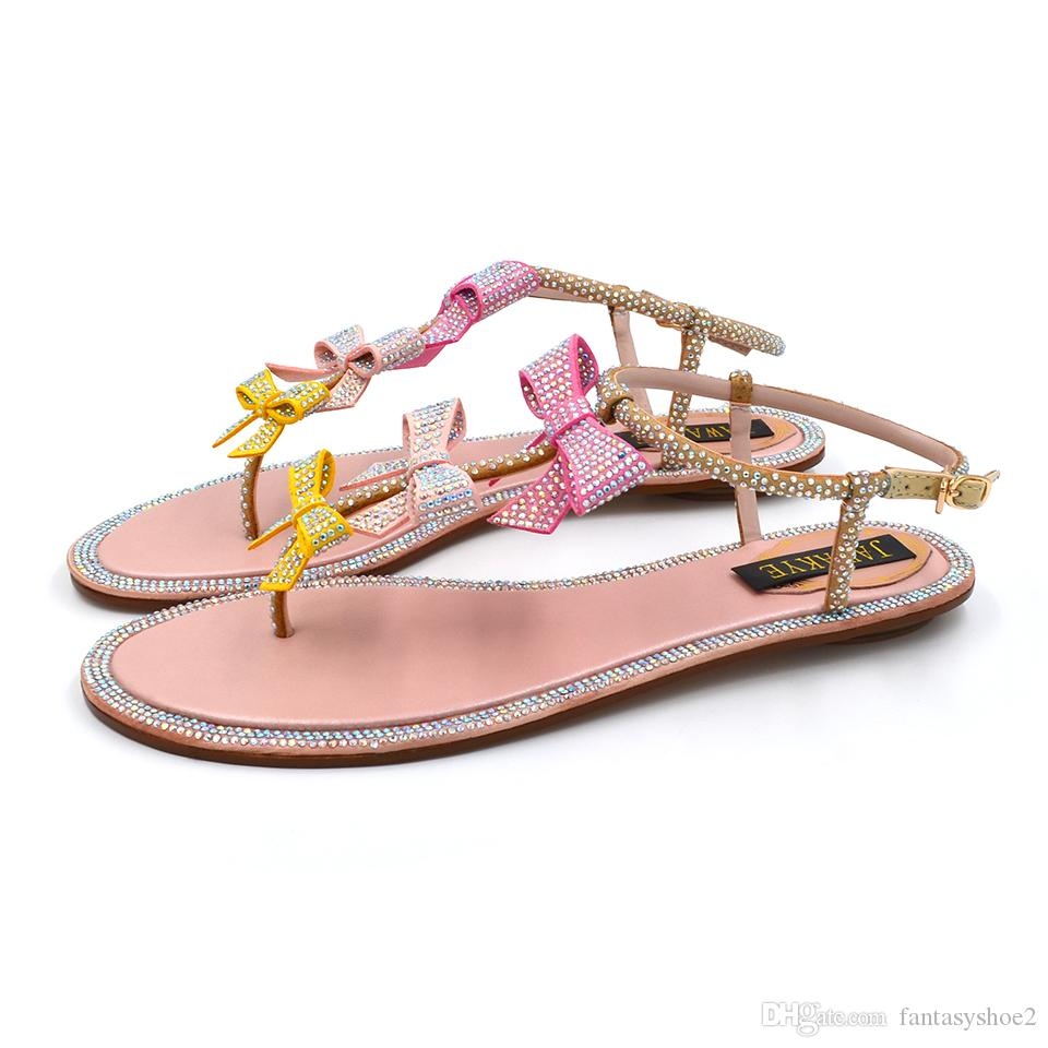 a7999b8b7 Fashion Rhinestone Crystal Gladiator Sandals Woman Flip Flops Open Toe Bow  Butterfly T Ankle Strap Flat Party Shoes Women Discount Shoes Platform  Heels From ...