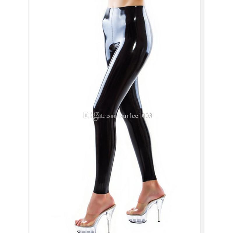 Sin Para Mujeres Envío De Calientes Cremallera Goma Gratuito Delgados Leggings Látex Rojos Atractivos Pantalones CrodeBWx