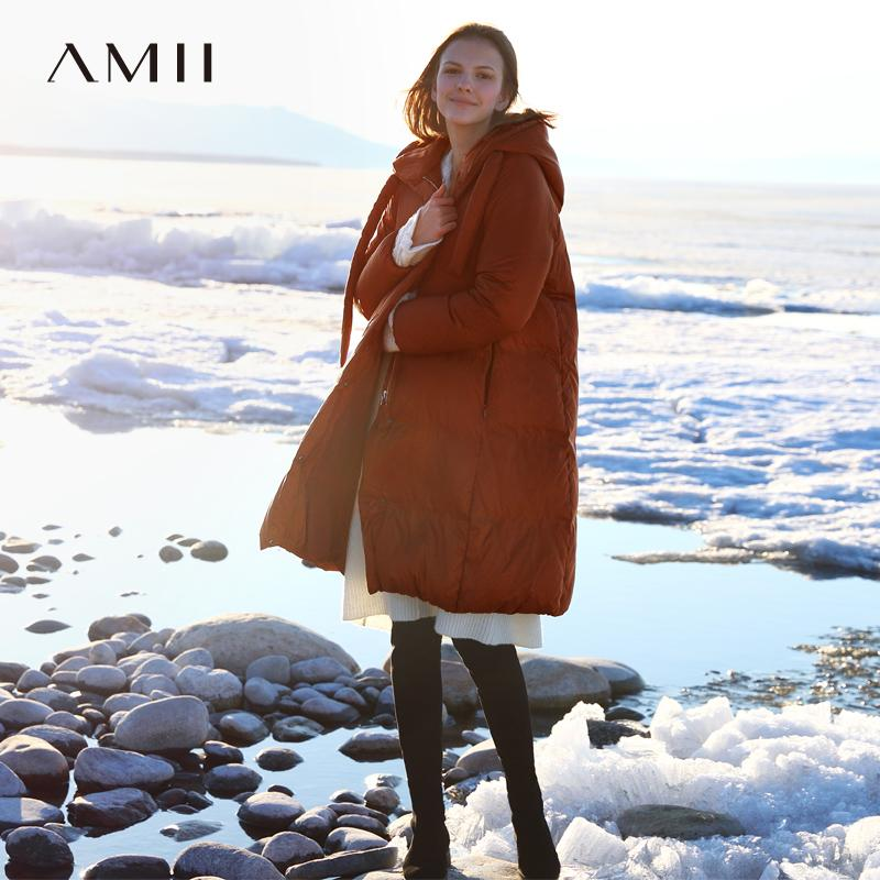 dd19a01a1b40 2019 Amii Minimalist Hooded Long Down Coat Women Winter 2018 Causal Thick  Zipper Solid 90% White Duck Down Female Jackets From Erzhang, $206.93 |  DHgate.Com