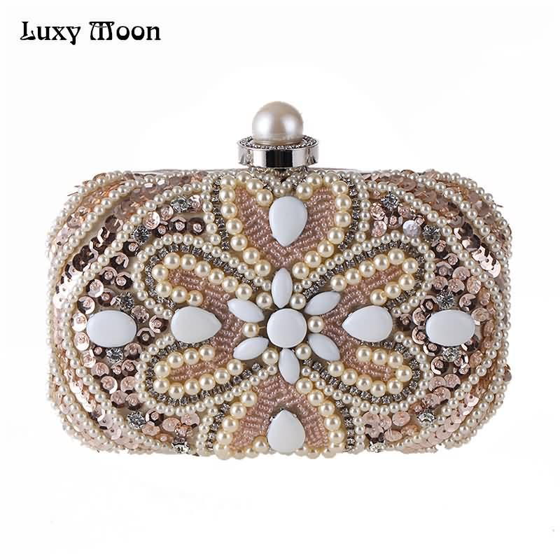 Luxy Moon Evening Bags Sequins Pearl Diamond Beaded Women S Purse Wedding  Wallet Tote Clutch Shoulder Bags With Two Chain ZD685 Silver Handbags Clutch  From ... 391f0074b3c2