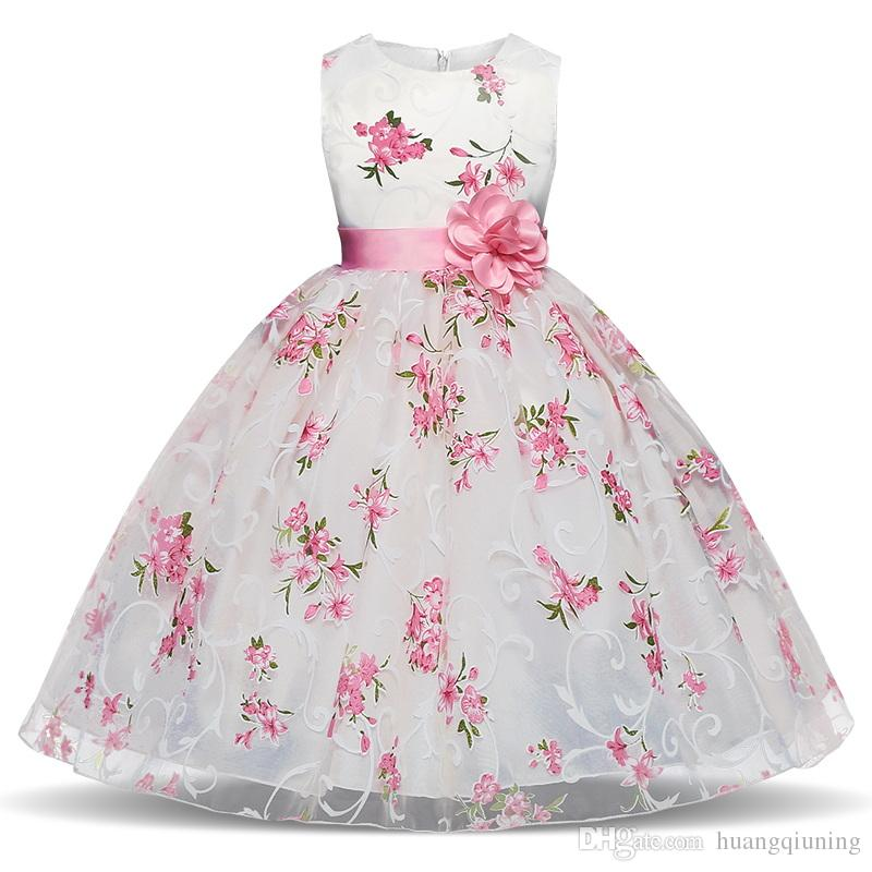 5520e6124 2019 Fancy Flower Girls Dresses For Wedding Baby Girls Party Kids ...