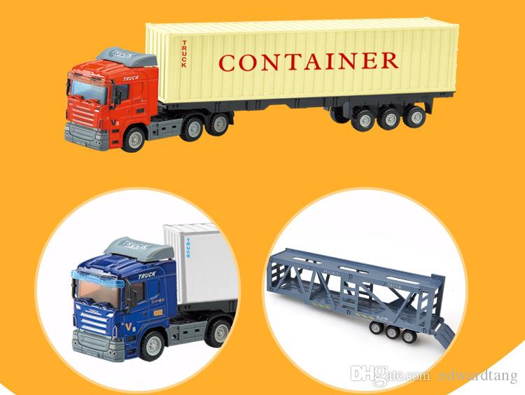 LS Diecast Alloy Car Model Toy, Container Truck, Goods Van, Transport Vehicle, Trailer Car Tank Wagon, Ornament, Xmas Kid Birthday Gift, 2-1
