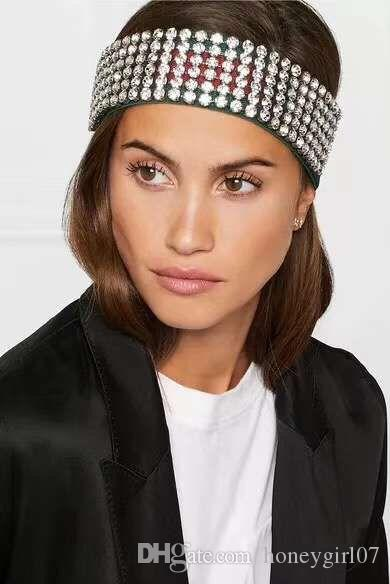 Full Rhinestone Elastic Headband Fashion Luxury Brand Green   Ren Striped  Hairband For Women Girl Retro Headwraps Gifts Thick Headbands For Women  Jeweled ... bcf58a6a045