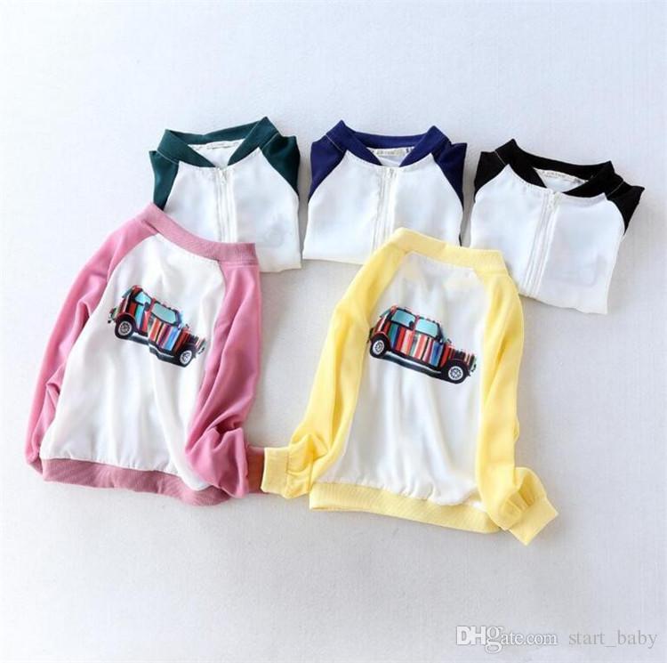 Crianças chiffon sol-prova de roupas bonito listrado impressão zíper do carro casaco fino para a primavera verão 1-9 T meninos meninas casuais sol-proteção clothingB