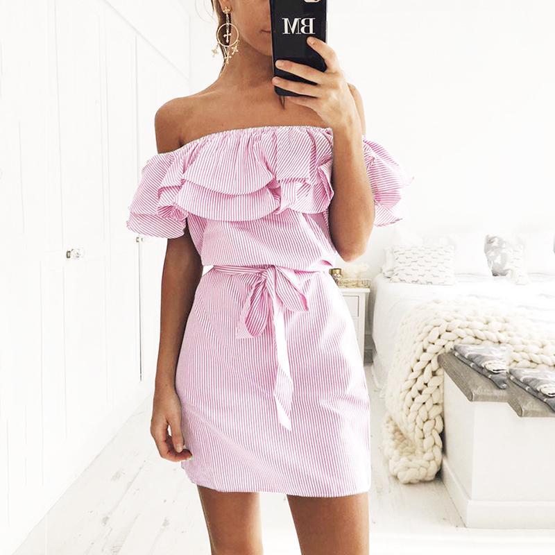 1e546706444c 2018 Off Shoulder Strapless Striped Ruffles Dress Women 2018 Summer ...