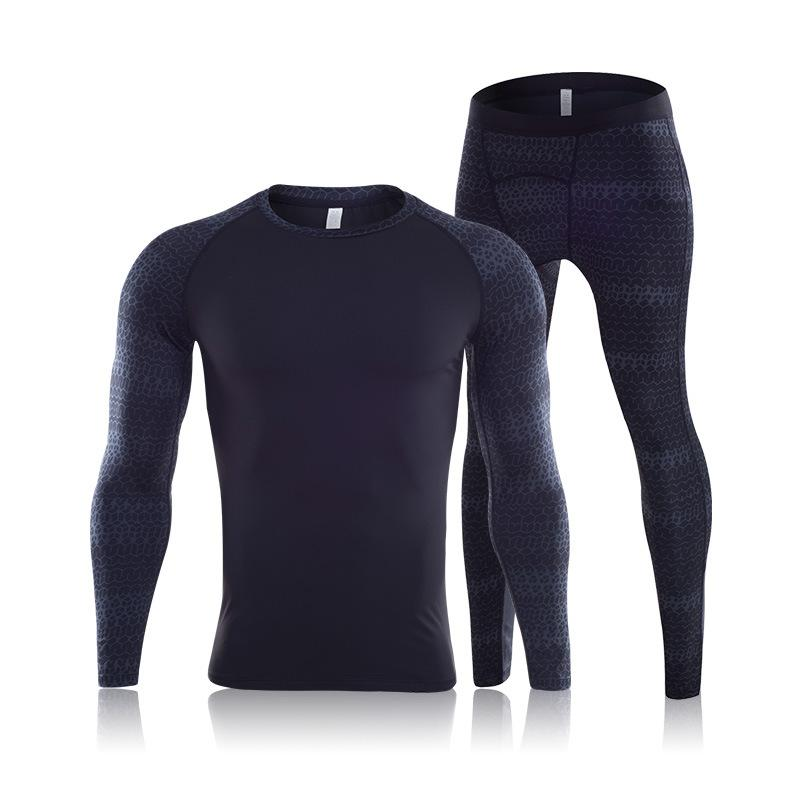 2018 Winter Thermal Underwear Men Hot-Dry Warm Long Johns Set Print Male Warm Fitness Thermo Compression lucky Underwear Set