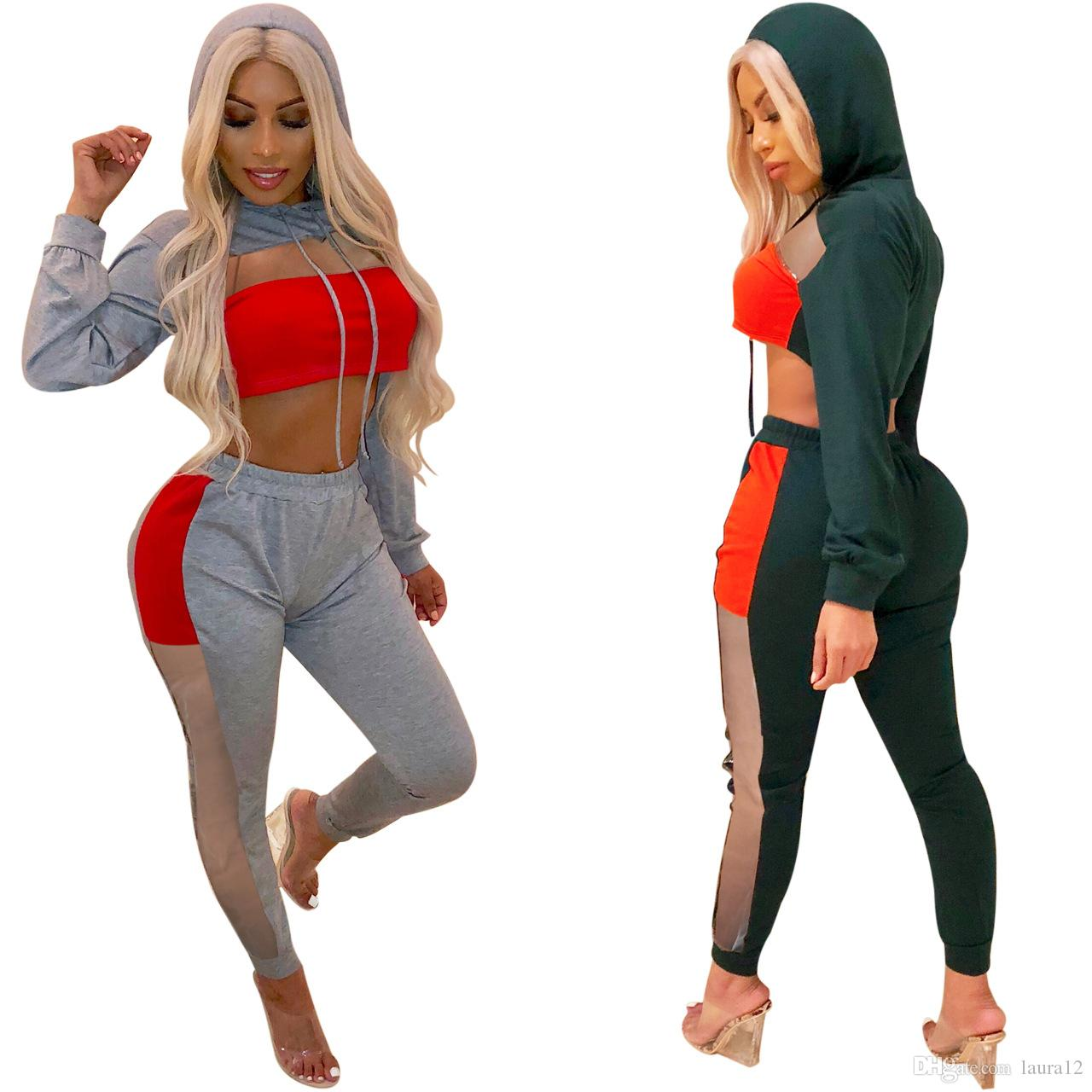 Leisure Women Tracksuits 2018 Autumn Cotton Hooded Sheer Long Sleeves Short Sweatshirt and Long Pants Two Pieces Women Outfits High Quality
