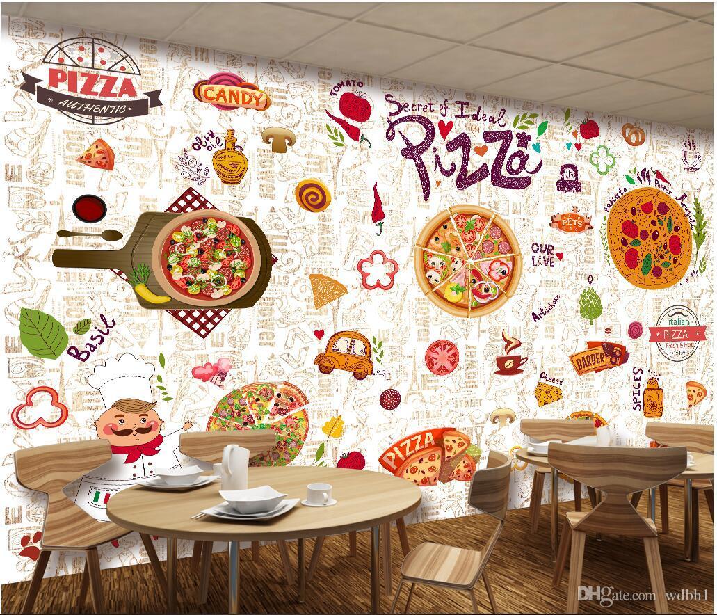 Compre papel pintado 3d foto personalizada restaurante - Papel para paredes de cocina ...