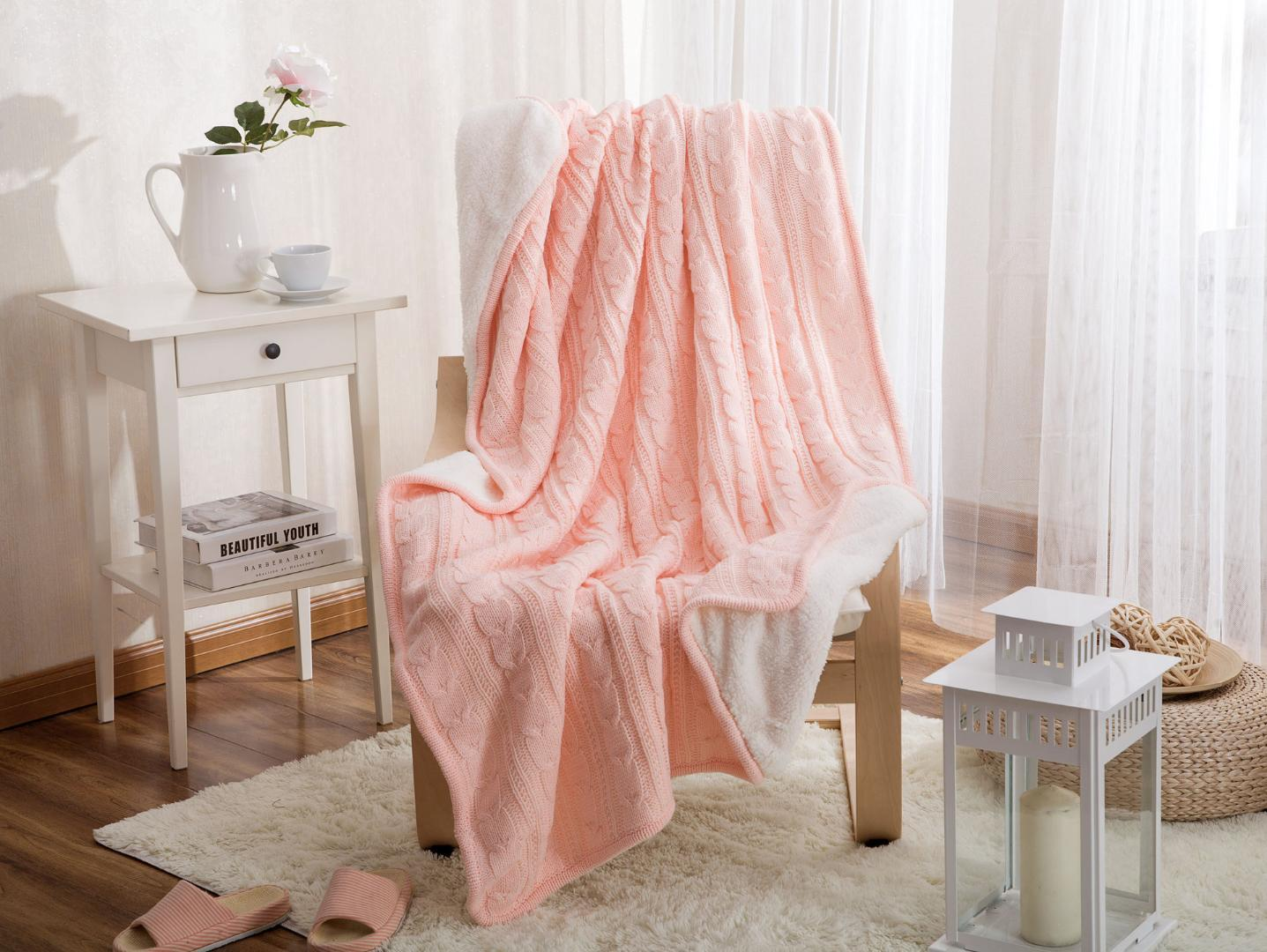 Beau Pink Knitted Throw Blanket Thick Soft Warm Coral Sherpa Blanket Travel Sofa  Solid Color Fleece Blankets Bed Soft Fluffy Cobertor Discount Blankets And  ...