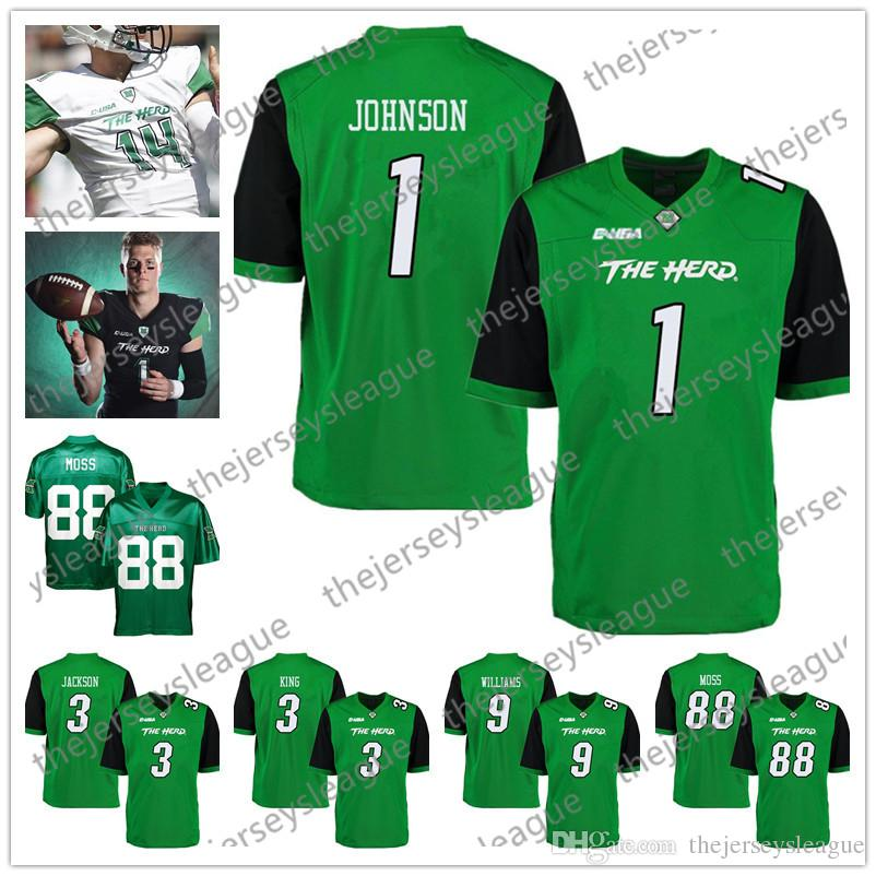 the best attitude 2c045 1f85b Marshall Thundering Herd #3 Tyler King 88 Randy Moss 1 Willie Johnson 9  Marcel Williams Green Black Stitched NCAA College Football Jersey