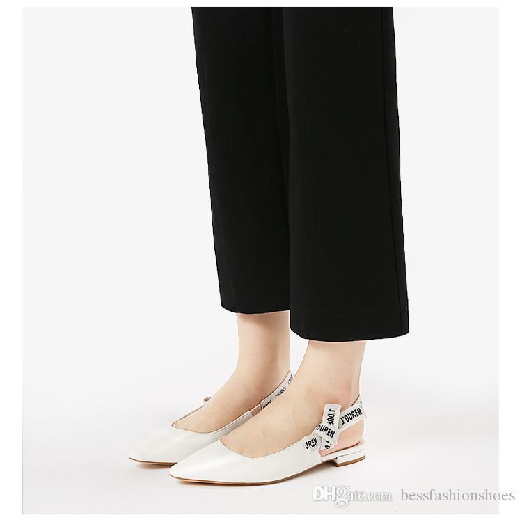 Band mit einem Brief Bogen Spitze Low-Heels Hochzeitsgesellschaft Wohnungen Schuhe mujers 2018 Frühjahr Wohnungen aus Sandale Leder Baotou flache Schuhe