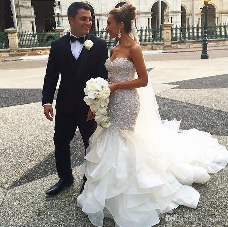 2018 Mermaid Wedding Dresses Luxurious Sweetheart Tiered Ruffles Lace Appliques Beaded Crystal Corset Bodice Top Vestidos Long Bridal Gowns