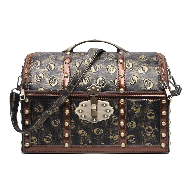 2017 Luxury Handbags Women Bags Designer Retro Caribbean Pirate Bag Vintage  Skull Rivets Bag Map Printing Metal Lock Box Stylish Messenger Bags  Crossbody ... 2a27bf1e09a4e