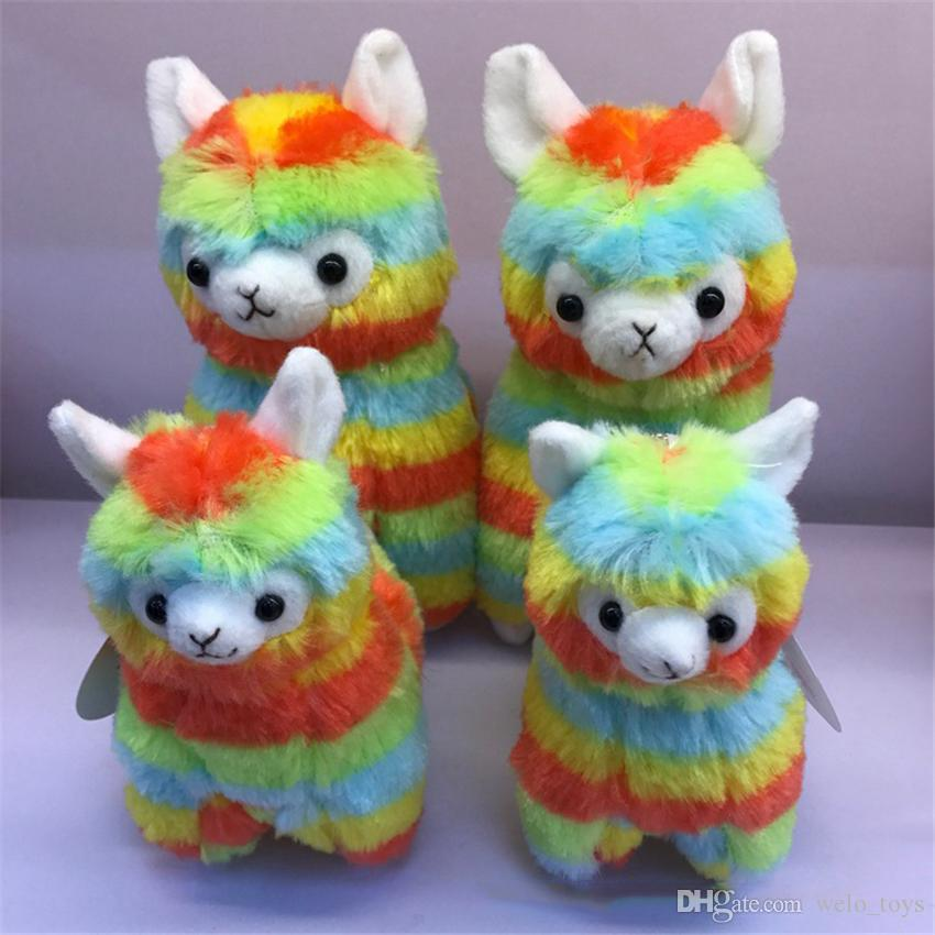 Rainbow Alpaca Plush Sheep Toy Keychain Japanese Stuffed Animals Alpaca Soft Plush Alpacasso Baby Plush Gifts for Kids 13cm